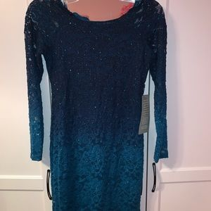 Dresses - Off the shoulder blue sparkle dress